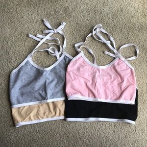 TEA-YOU Halter Crops (Grey, Nude, Pink, Black)